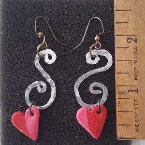 Heart & Silver Swirl Earrings - (E)
